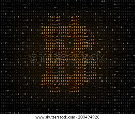 Bitcoin golden currency symbol crypted in dark binary code listing. Raster copy - stock photo