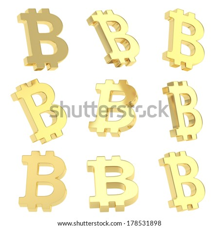Bitcoin golden peer-to-peer digital crypto currency sign render isolated over white background, set of nine foreshortenings - stock photo