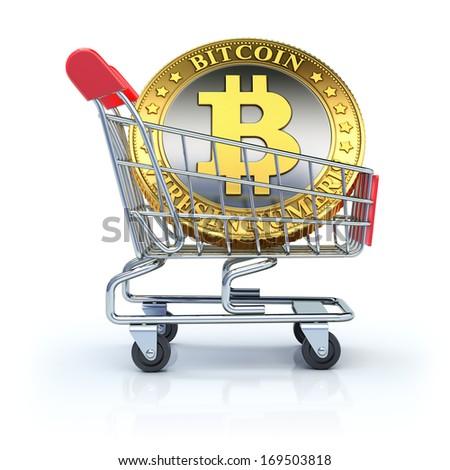 Bitcoin in the shopping cart - stock photo