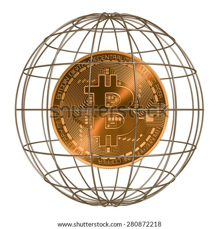 Bitcoin Inside The Cage. 3D Scene. - stock photo