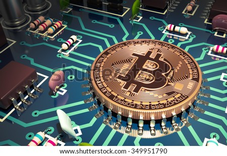 Bitcoin Like A Computer Chip On Motherboard. 3D Scene. - stock photo
