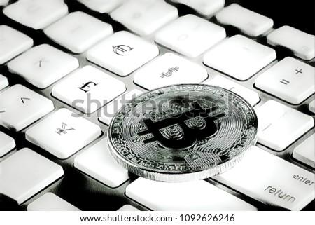 Bitcoin On Keyboard Euro Dollar Pound Stock Illustration 1092626246