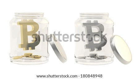 Bitcoin peer-to-peer digital crypto currency sign with a multiple coins in a glass jar isolated over white background, set of two foreshortenings, made of silver and gold - stock photo