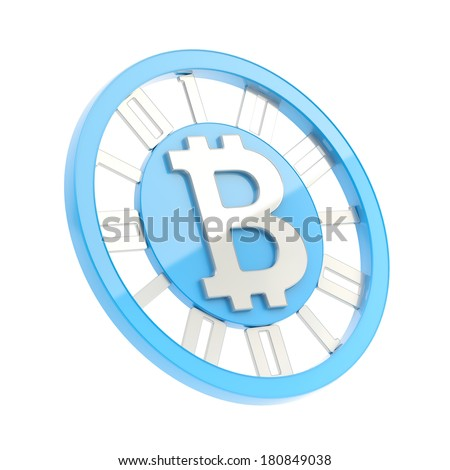Bitcoin peer-to-peer digital currency symbol as a blue and silver coin isolated over white background - stock photo