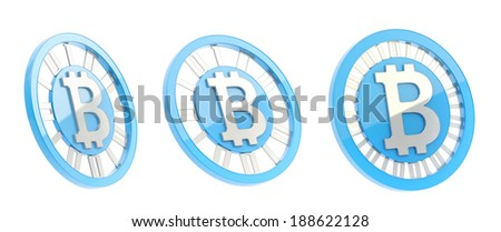 Bitcoin peer-to-peer digital currency symbol as a blue and silver coin isolated over white background, set of three foreshortenings - stock photo
