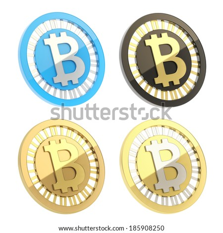 Bitcoin peer-to-peer digital currency symbol as a coin isolated over white background, set of four different color options - stock photo