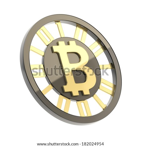 Bitcoin peer-to-peer digital currency symbol as a golden and black coin isolated over white background - stock photo