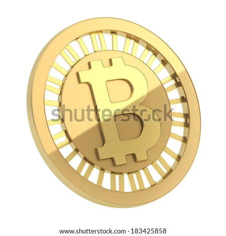 Bitcoin peer-to-peer digital currency symbol as a golden coin isolated over white background - stock photo