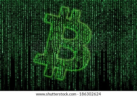 Bitcoin sign on the matrix background - stock photo
