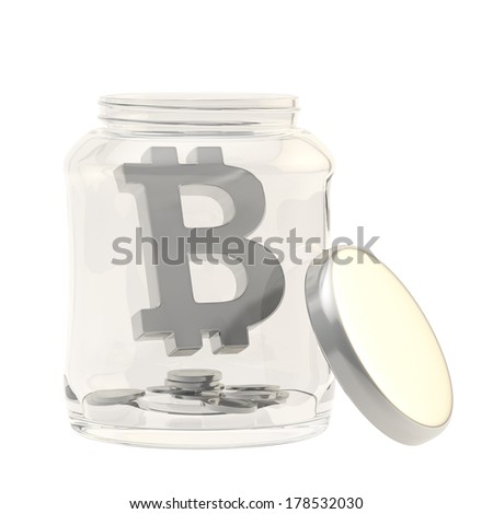 Bitcoin silver peer-to-peer digital crypto currency sign with a multiple coins in a glass jar isolated over white background - stock photo