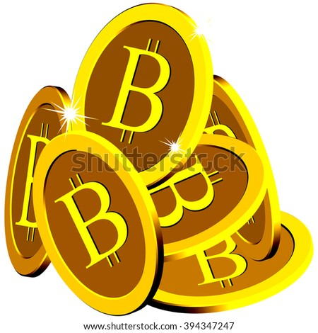 bitcoin stack over white background, abstract art illustration
