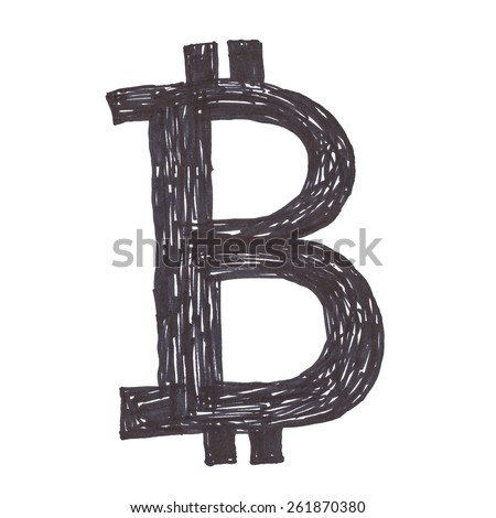 Bitcoin symbol, handmade black drawing of a digital cryptocurrency, letter B on white background. - stock photo