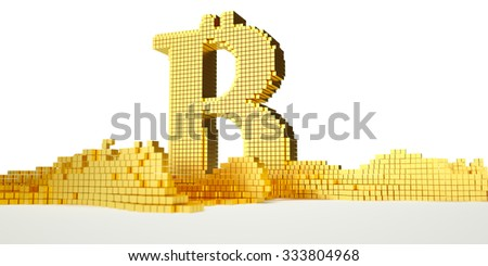 bitcoin symbol melts into liquid gold. path included - stock photo