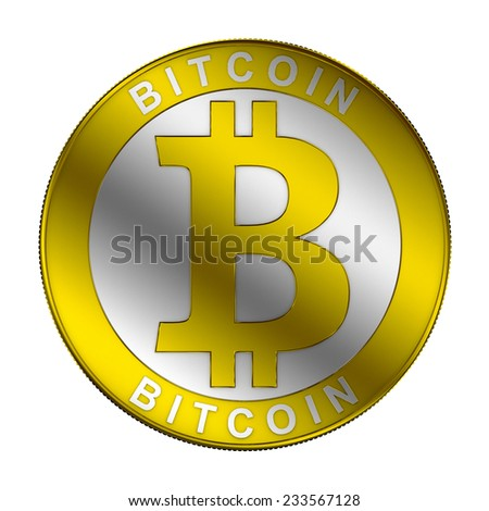 Bitcoin symbol on a white background 3d render - stock photo