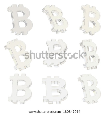 Bitcoin transparent glass peer-to-peer digital crypto currency sign render isolated over white background, set of nine foreshortenings - stock photo