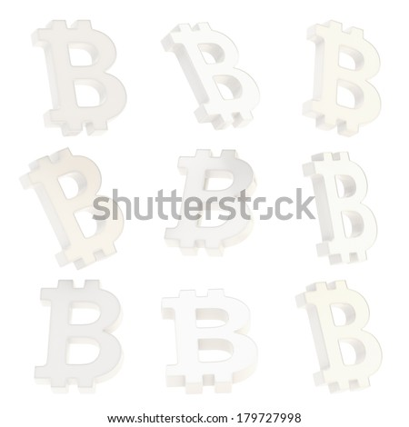 Bitcoin white plastic peer-to-peer digital crypto currency sign render isolated over white background, set of nine foreshortenings - stock photo