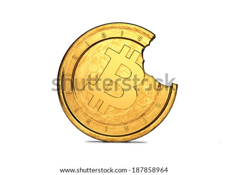 Bitcoin with Bite High - 3D Gold - stock photo