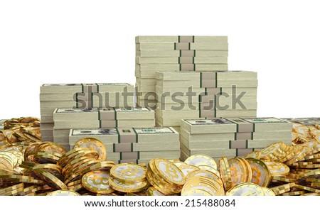 Bitcoins and Dollars - stock photo