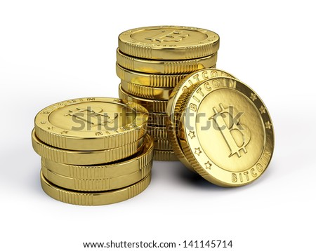 Bitcoins isolated on white - stock photo