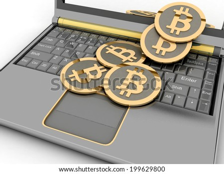 Bitcoins on laptop. Conception of electronic earnings. - stock photo