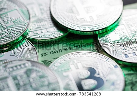 Bitcoins on one dollar bill. The headline is showing the doubtfulness, unsureness, unsteadiness of the new cryptocurrency.