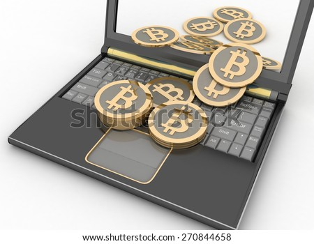 Bitcoins with laptop computer. 3d illustration on white background - stock photo