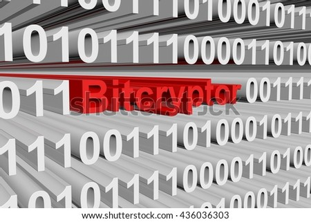 Bitcryptor in the form of binary code, 3D illustration