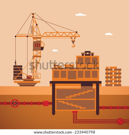 bitmap concept of residential house construction process with crane and underground utilities - stock photo