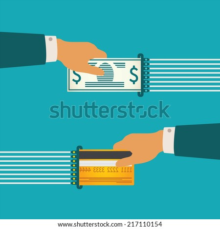 Bitmap illustration concept of cash and non-cash money circulation with bank credit card and banknote - stock photo