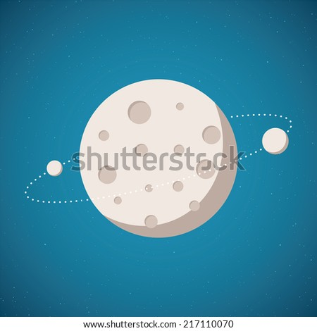 Bitmap illustration of planetary system with planet and satellite in open space - stock photo