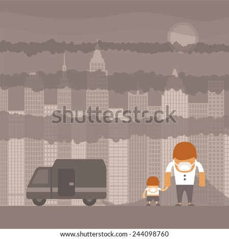 bitmap urban ecology concept or background with cityscape and smoke clouds - stock photo