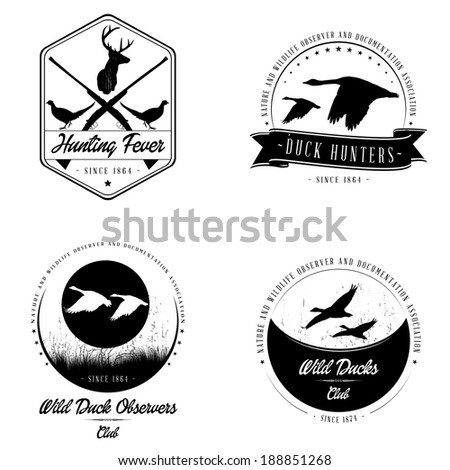 Bitmap Wild animal badge collection - stock photo