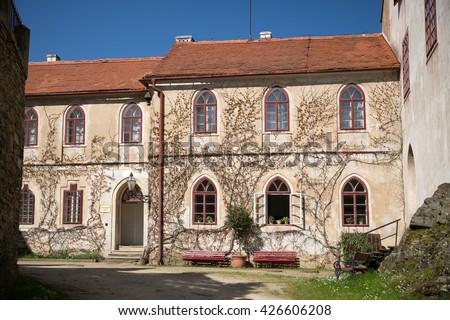 Bitov castle courtyard, Czech republic - stock photo