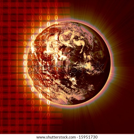 bits and bytes with integrated planet earth - stock photo