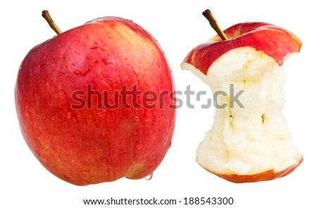 bitten apple and whole wealthy apple isolated on white background - stock photo