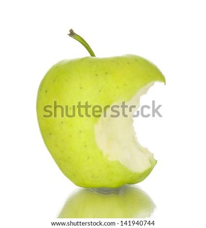bitten apple on a white background - stock photo