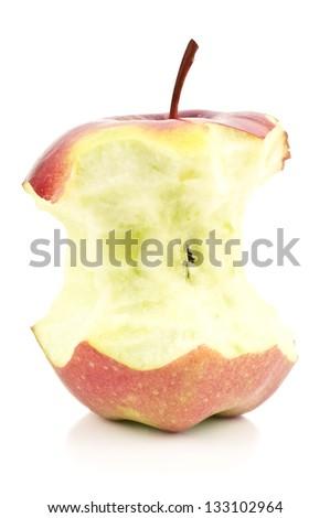 bitten apple on white background - stock photo