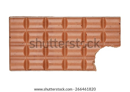 Bitten Chocolate bar isolated on white background. With clipping path - stock photo