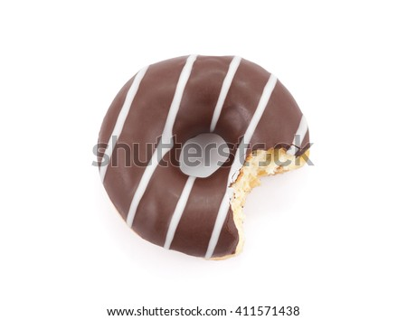 Bitten chocolate donut isolated on white with clipping path - stock photo