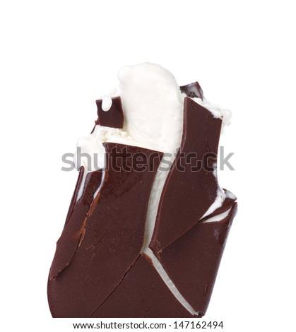 Bitten chocolate vanilla ice cream. - stock photo