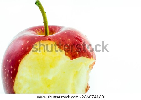 Bitten fresh red apple - stock photo
