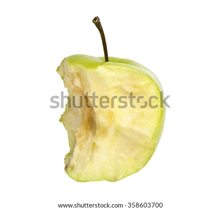 Bitten green apple isolated on a white background - stock photo