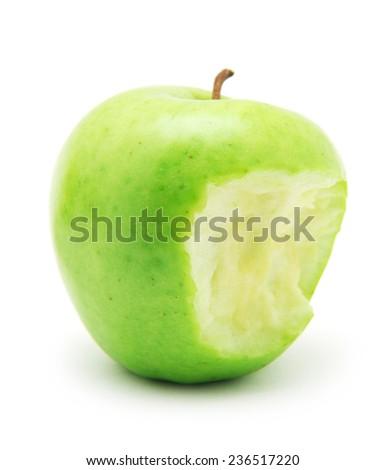 bitten green apple isolated on white background - stock photo