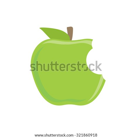 Bitten green apple raster icon isolated on white, fresh fruit, healthy food - stock photo