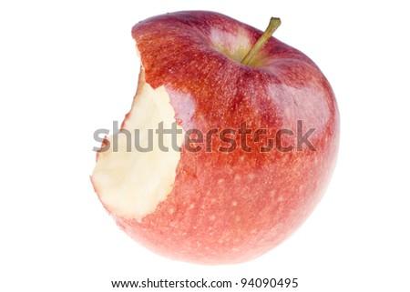 Bitten red apple - stock photo