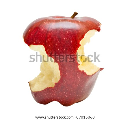 Bitten red apple isolated on white background - stock photo