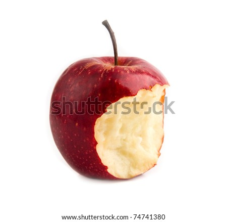 bitten red apple on a white background - stock photo