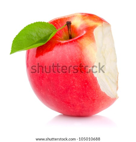 Bitten red juicy apple with green leaf isolated on white background - stock photo