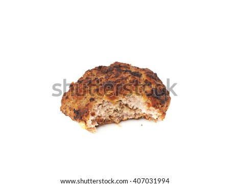 Bitten single prepared small hand made cutlet isolated over white background - stock photo
