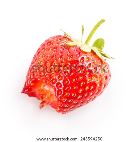 bitten strawberry Isolated on white background
